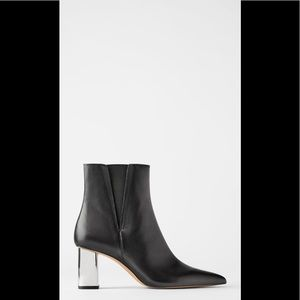 New Zara pointy leather booties with metal heal 9